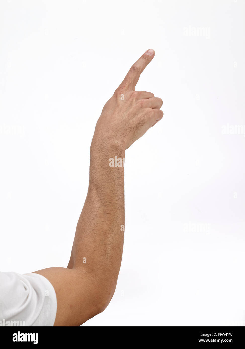White Caucasian main bras pointer du doigt Photo Stock