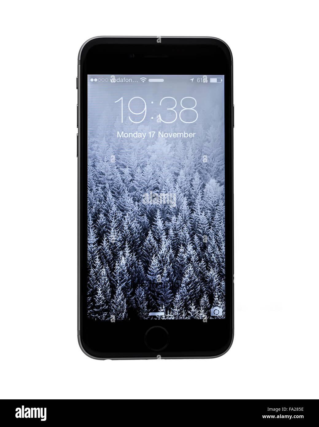 Le Nouveau Apple Iphone 6 Sur Un Fond Blanc Montrant L Ios 8 Ecran