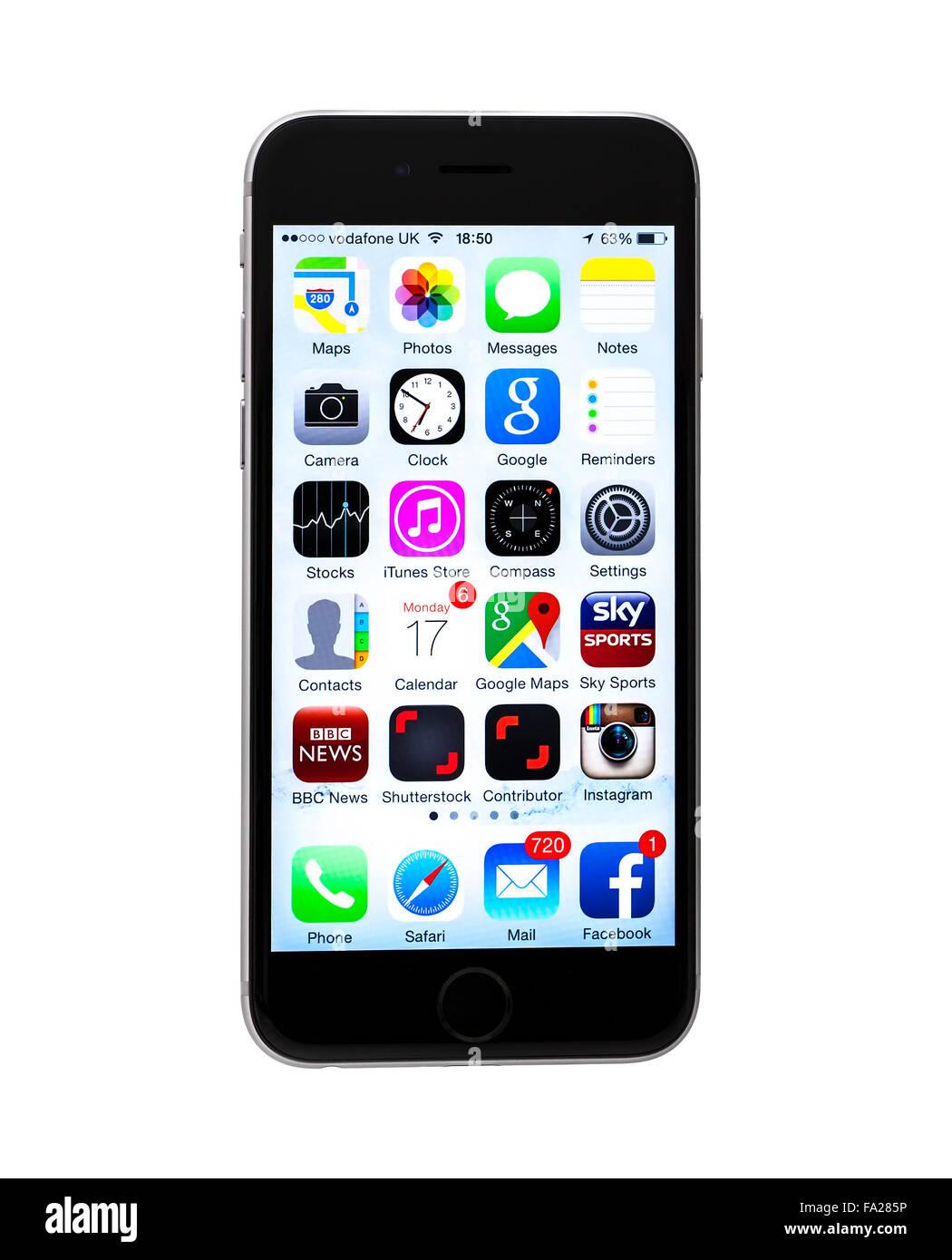 Le Nouveau Apple Iphone 6 Sur Un Fond Blanc Montrant L Ecran De L