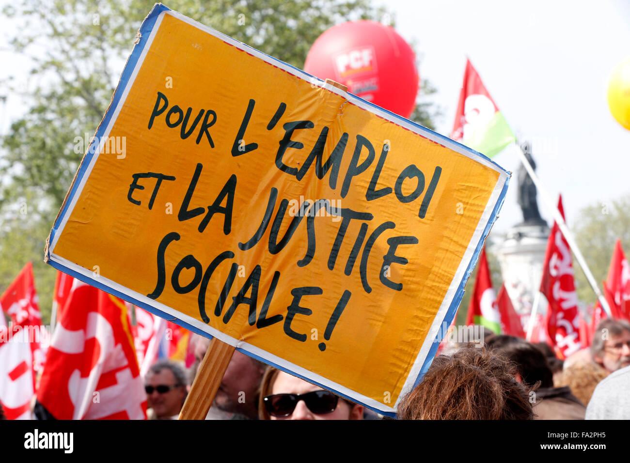 Manifestation contre la politique du gouvernement français de l'austérité. Photo Stock