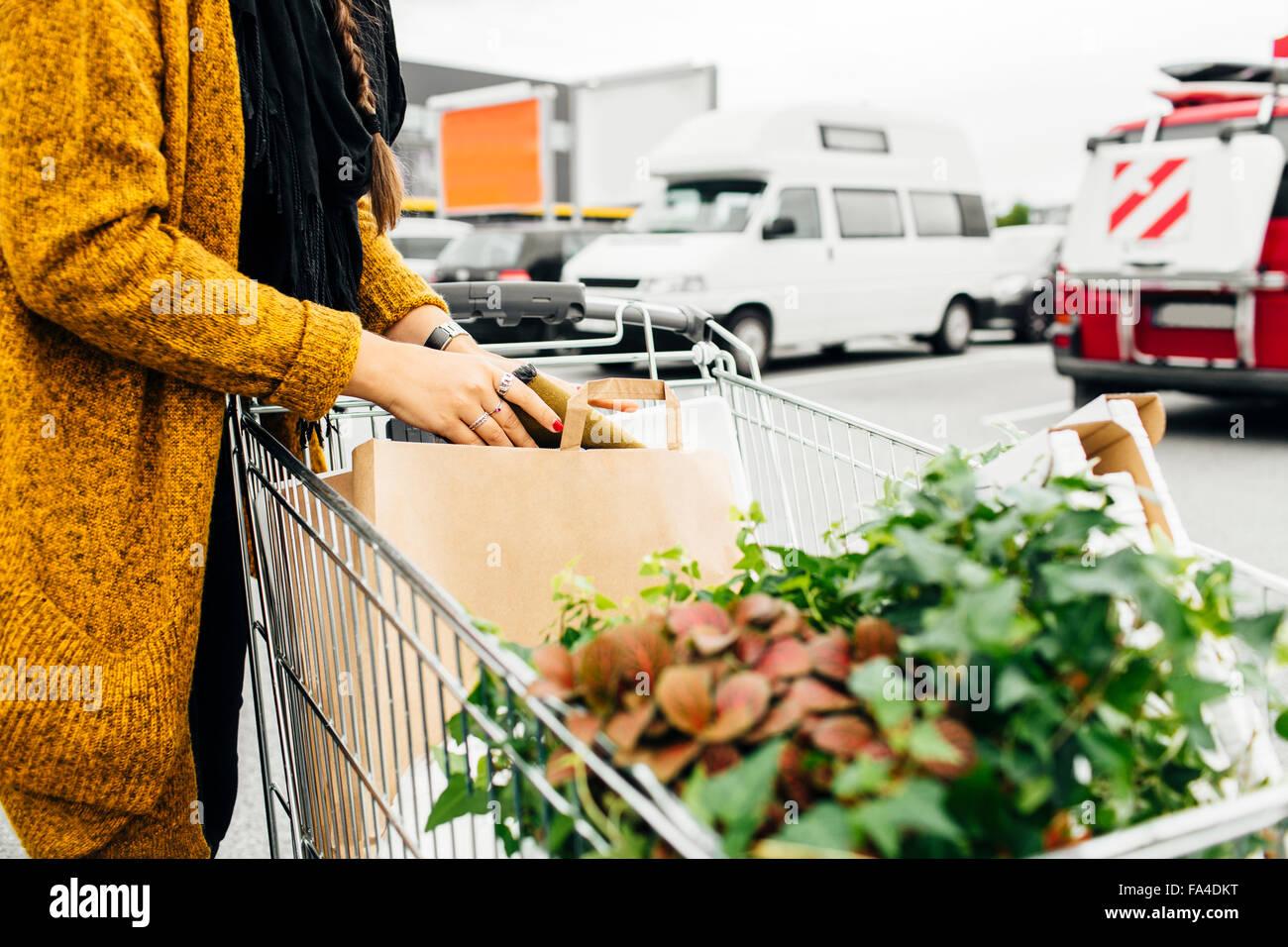 Portrait de femme avec panier d'achats en pleine zone de stationnement Photo Stock