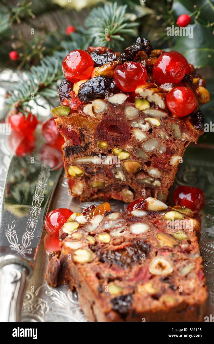 Gâteau aux fruits de Noël Photo Stock