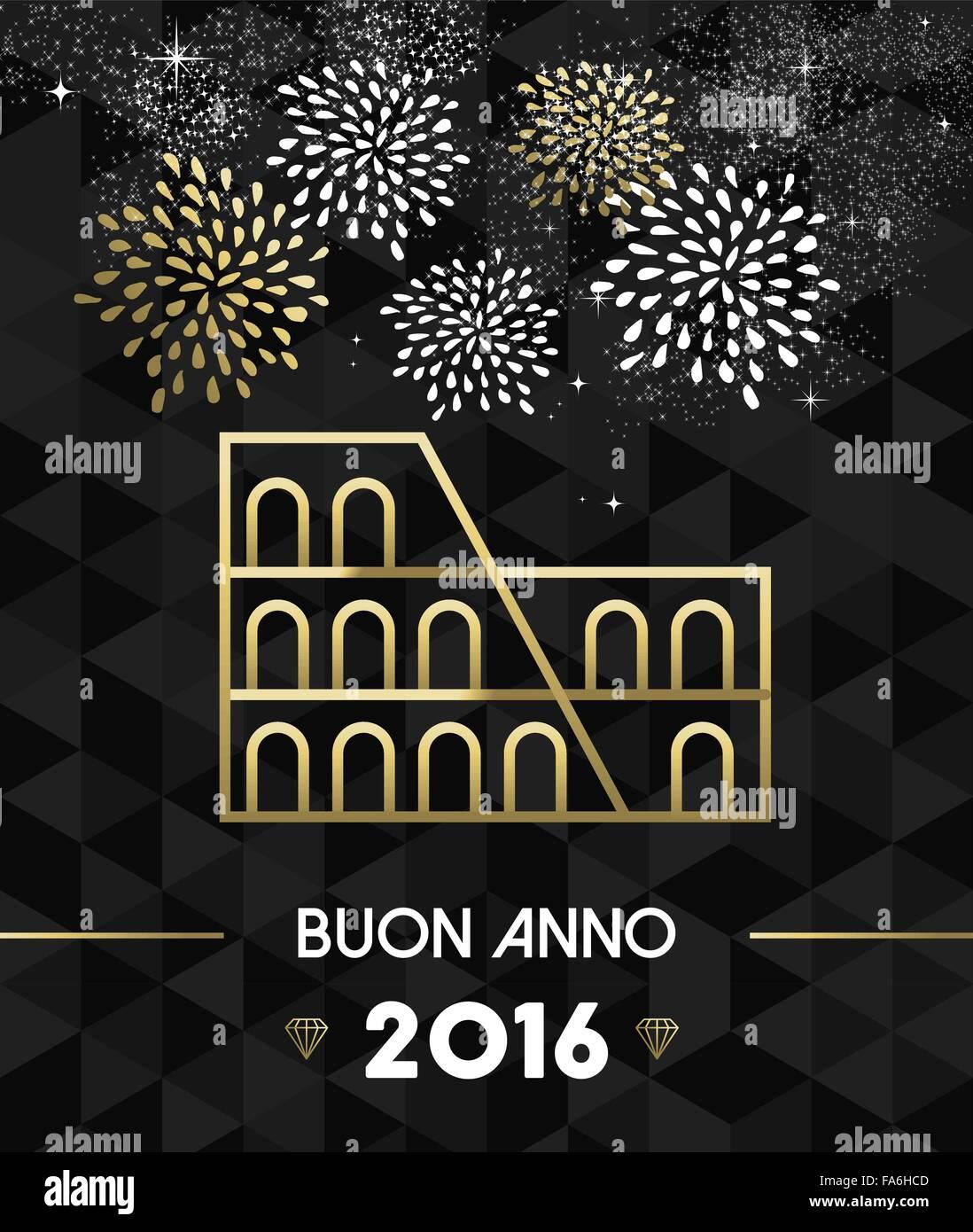 Carte Bonne Fete En Italien.Bonne Annee 2016 Carte De Souhaits Avec Rome Italie Colisee Monument