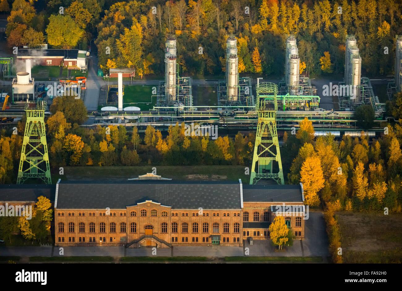Musée de l'industrie, salle des machines, Zeche Zweckel, tours d'enroulement, INEOS Phenol plante, Photo Stock