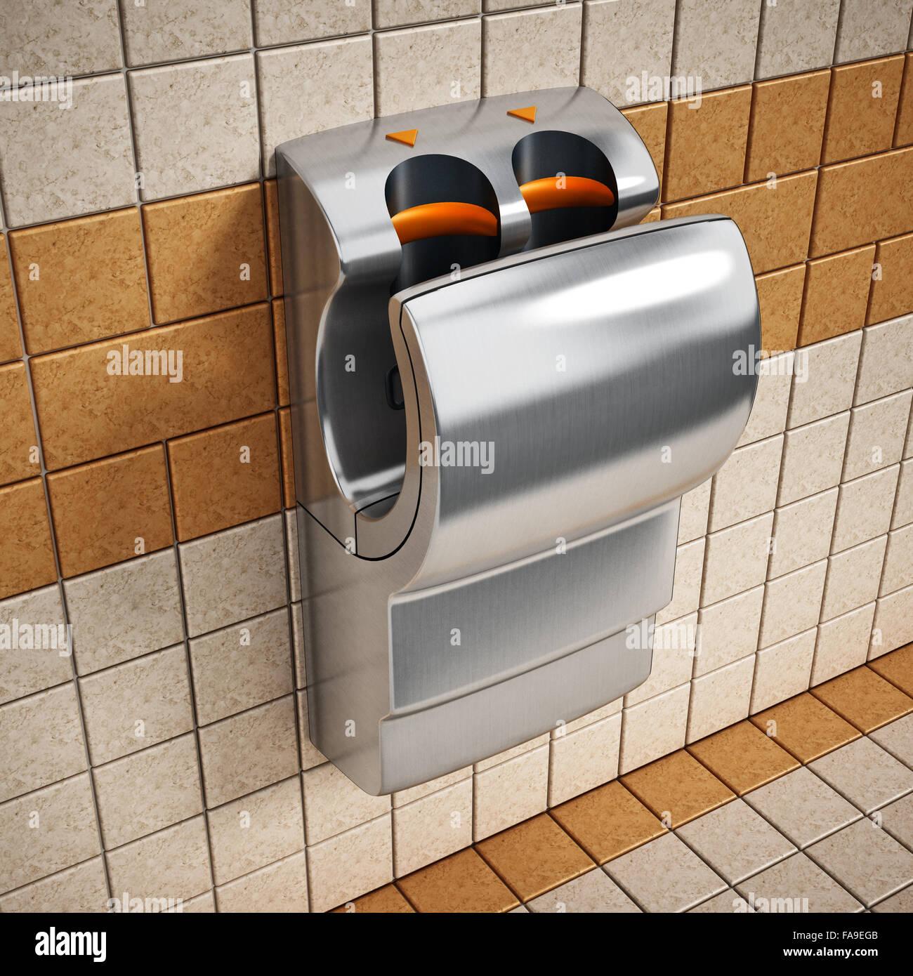 Séchoir à main accrochée au mur des toilettes publiques ...