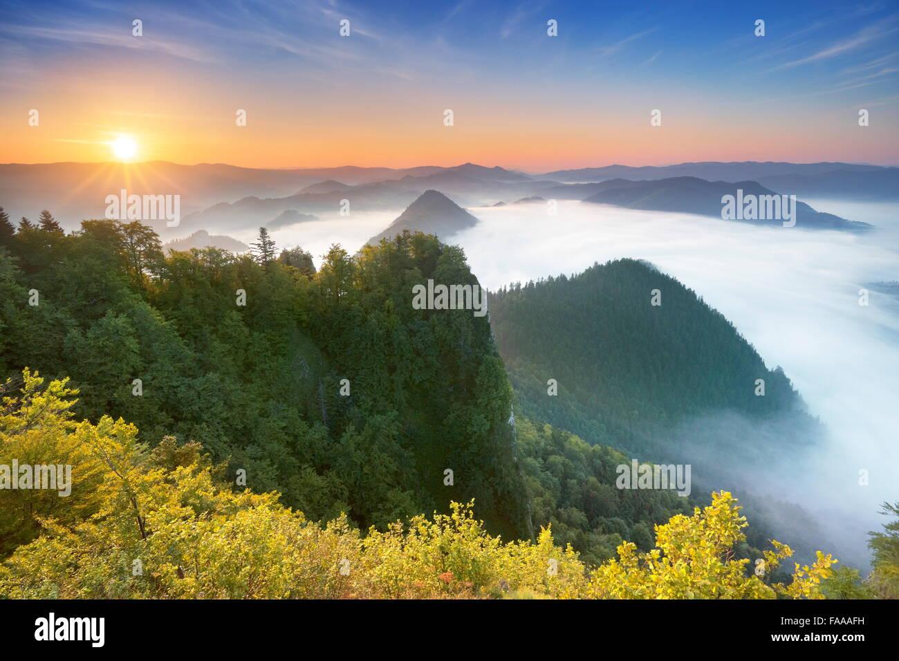 Montagnes Pieniny, vue de Trzy Korony Peak, Pologne Photo Stock