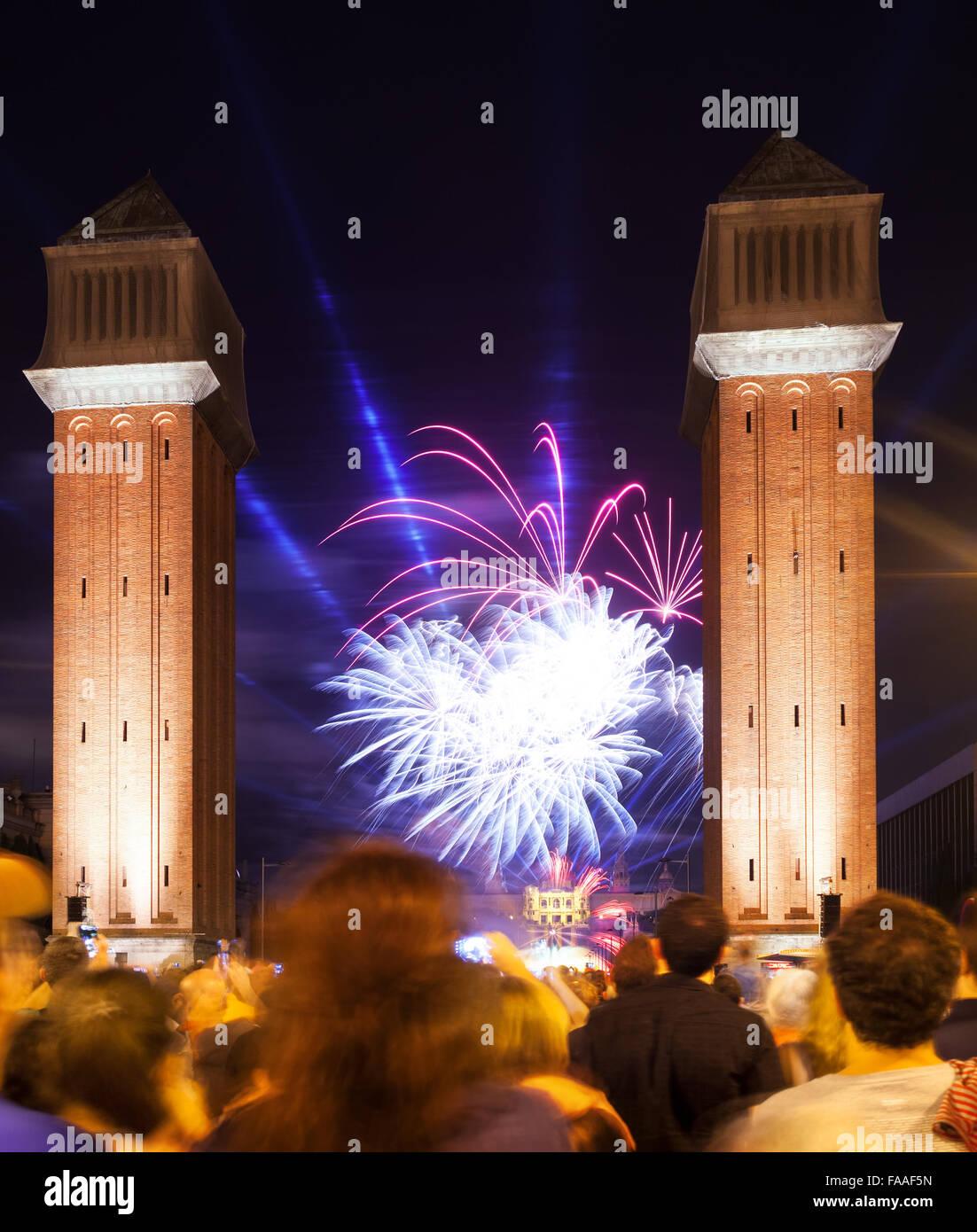 D'artifice dans la Merce Festival à Barcelone. Espagne Banque D'Images