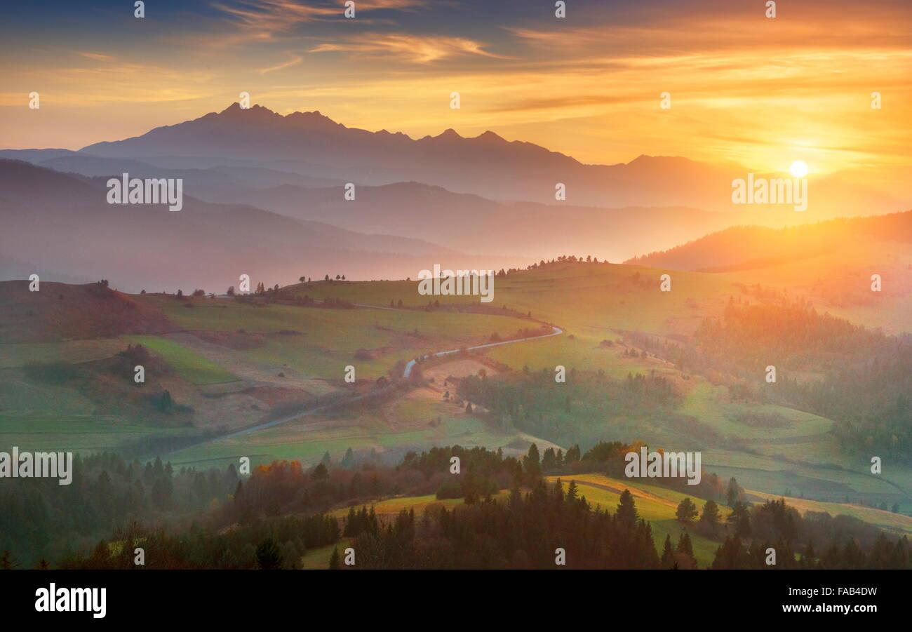Tatras - coucher de soleil, Pologne Banque D'Images