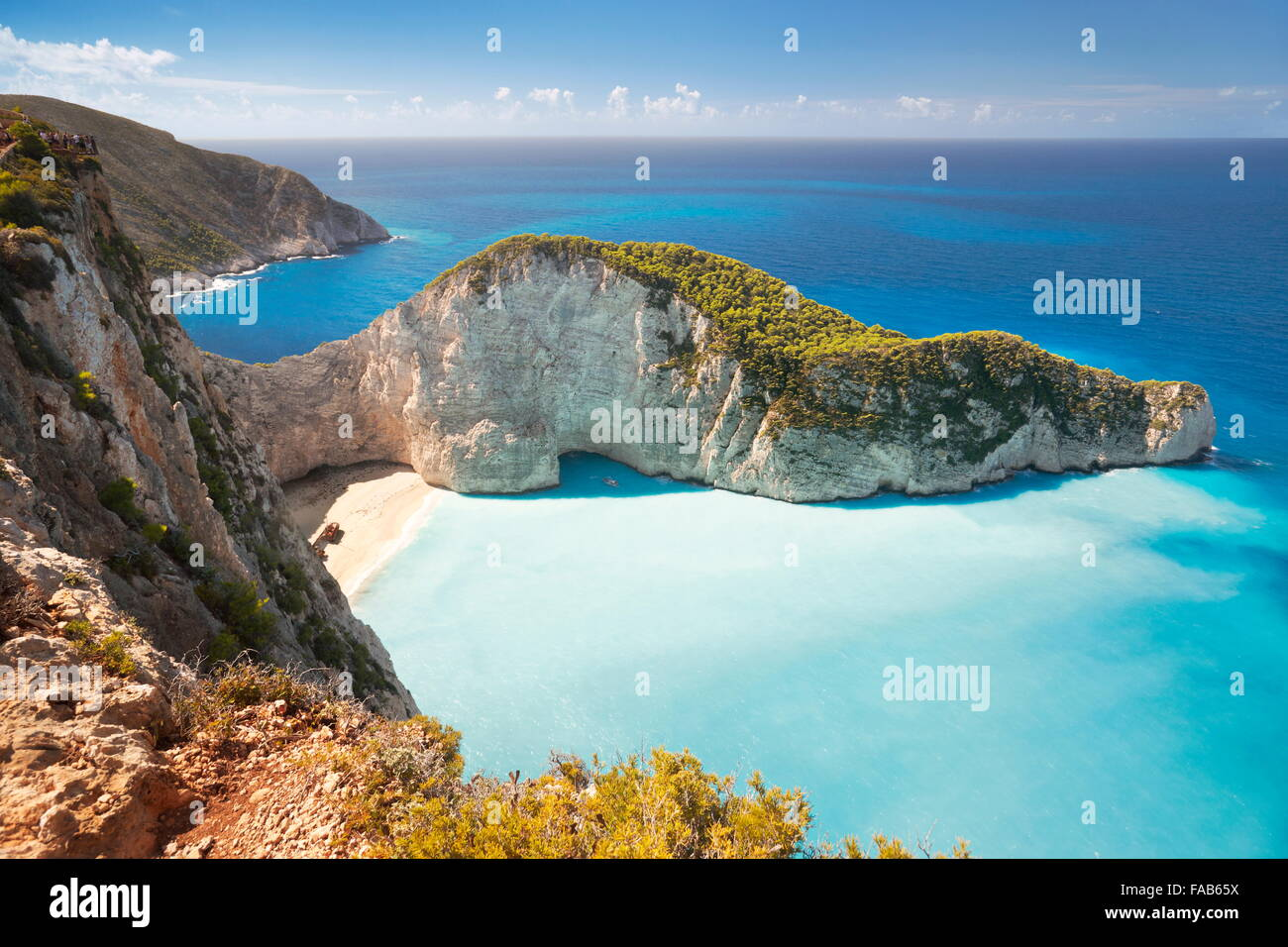 Grèce - Zakynthos, Shipwreck Cove, plage de Navagio Photo Stock