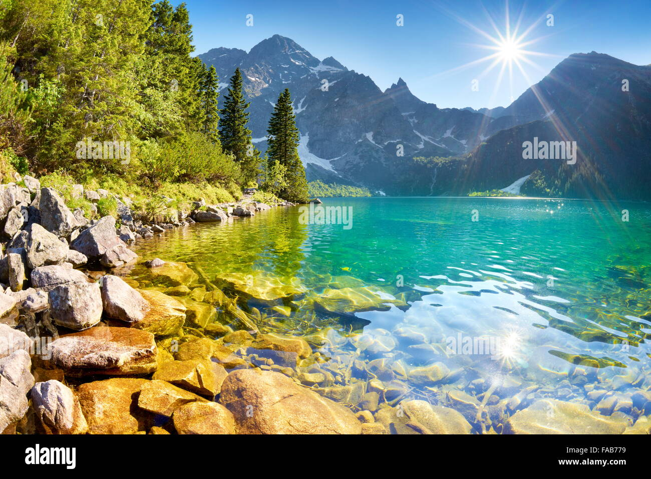 Le lac Morskie Oko, Tatras, Pologne Photo Stock