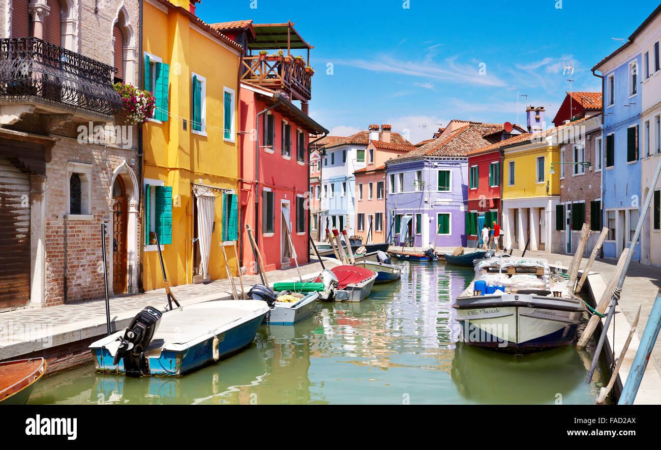 Maisons colorées à Burano près de Venise, Italie (Burano Lagoon Island) Photo Stock