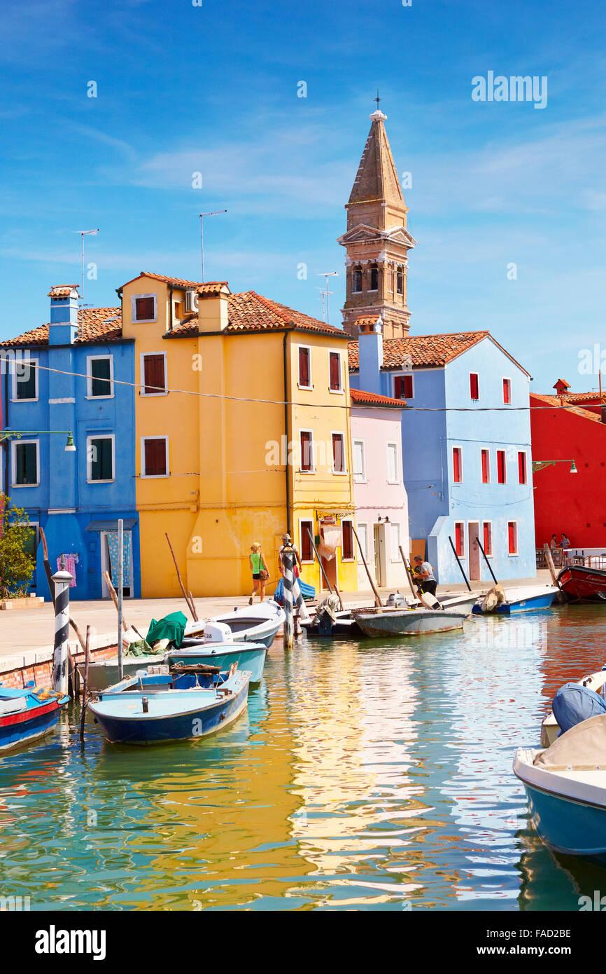 Burano île près de Venise, Italie Photo Stock