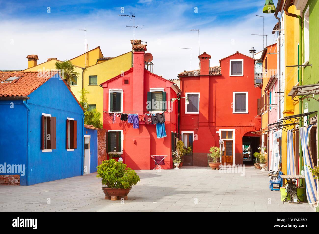 Maisons multicolores dans l'île de Murano près de Venise, Italie Photo Stock