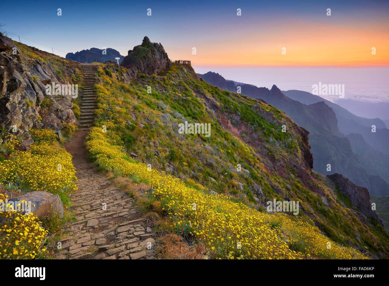 Sentier de randonnée de la montagne de Pico do Arieiro à Pico Ruivo avant le lever du soleil, l'île Photo Stock