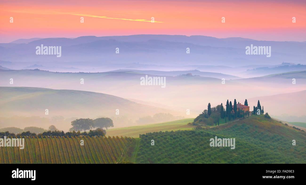 Paysage de la Toscane, San Quirico d'orcia, Italie Photo Stock