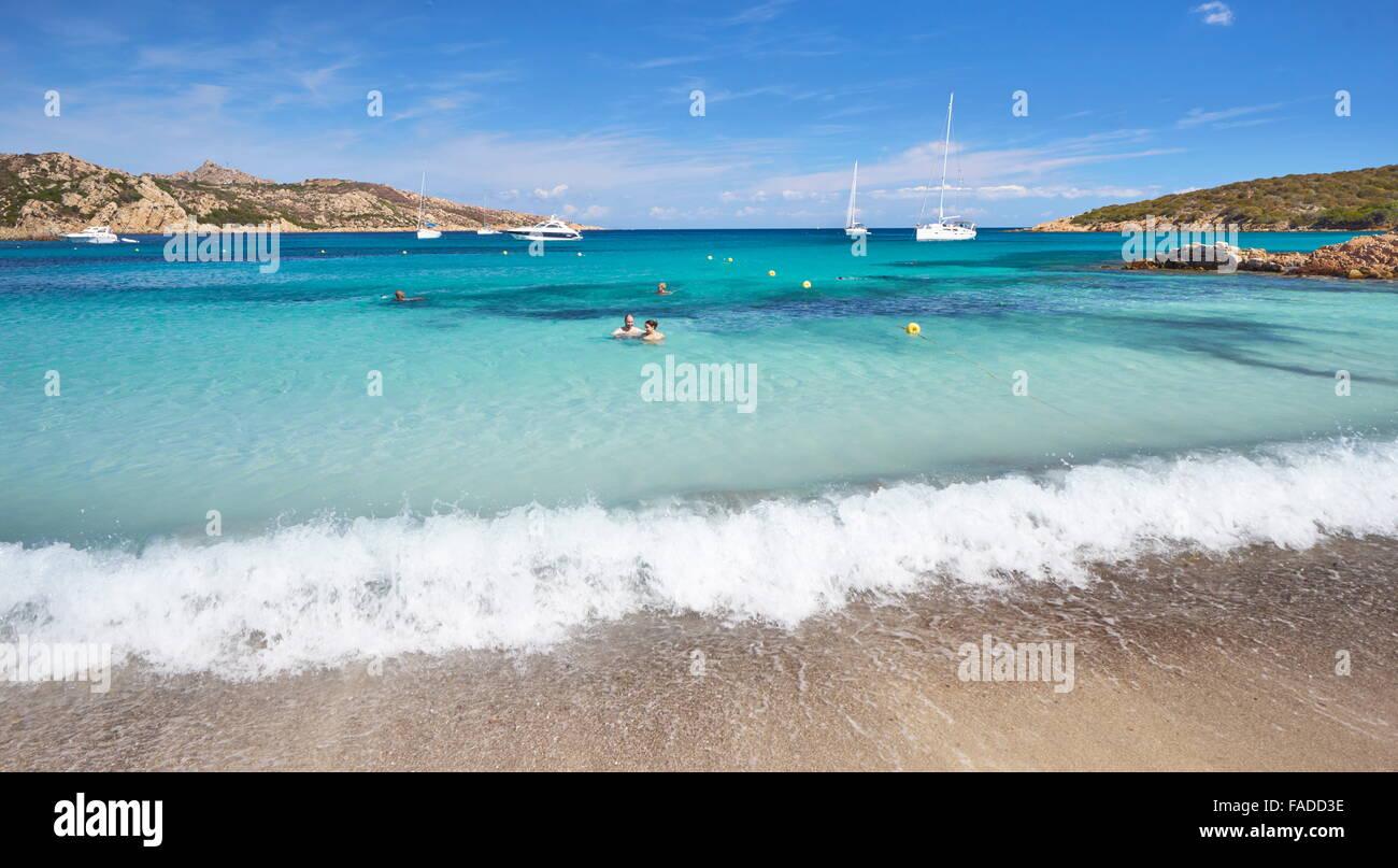 Plage Cala Portese, île de Caprera, Italie Photo Stock