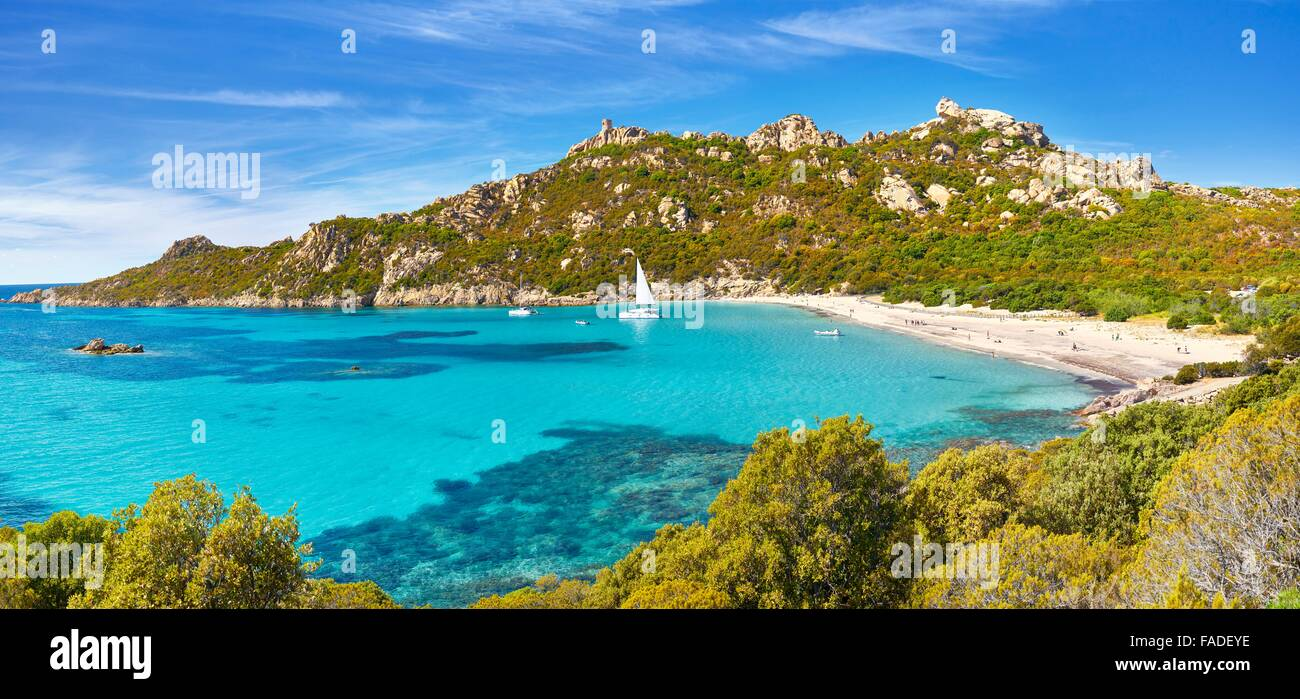 La plage de Roccapina, côte sud-ouest, Corse, France Photo Stock