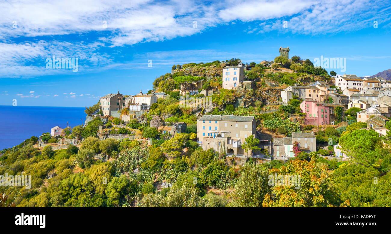 Nonza, petit village de montagne, Cap Corse, Corse, France Photo Stock