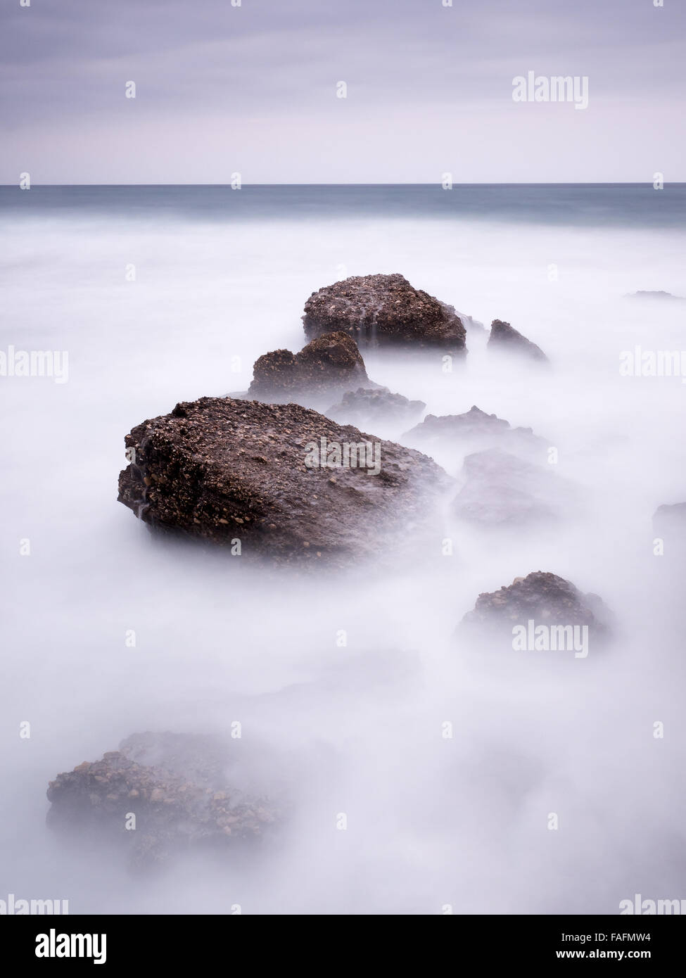Seascape, Nerja, Costa del Sol, Espagne, Photo Stock