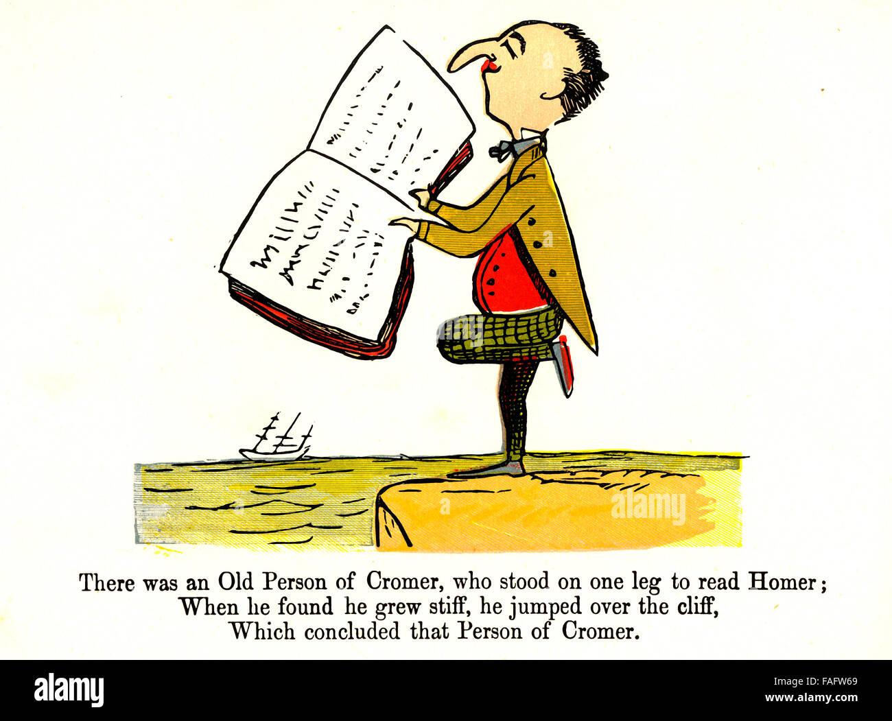 Il y avait une vieille personne de Cromer - an illustrated limerick par Edward Lear Photo Stock