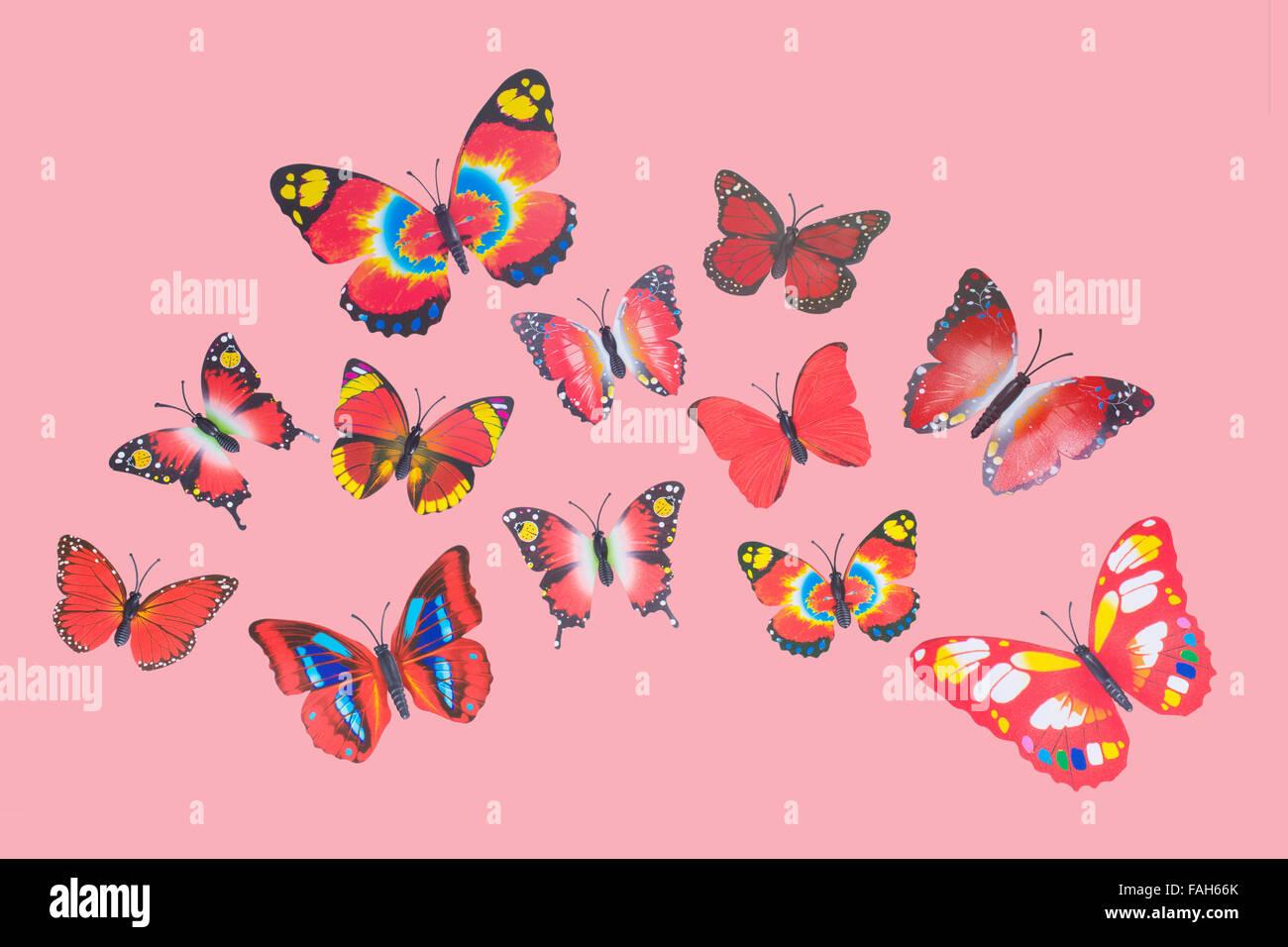 Collection de papillons fantaisie rouge Clip Art Photo Stock