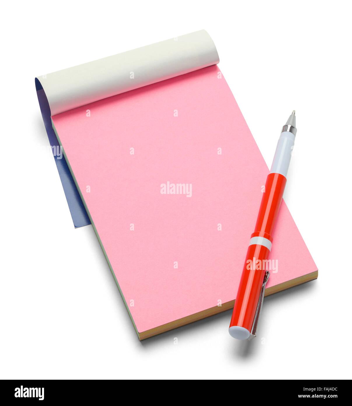 Petit Bloc-notes et stylo rose isolé sur un fond blanc. Photo Stock