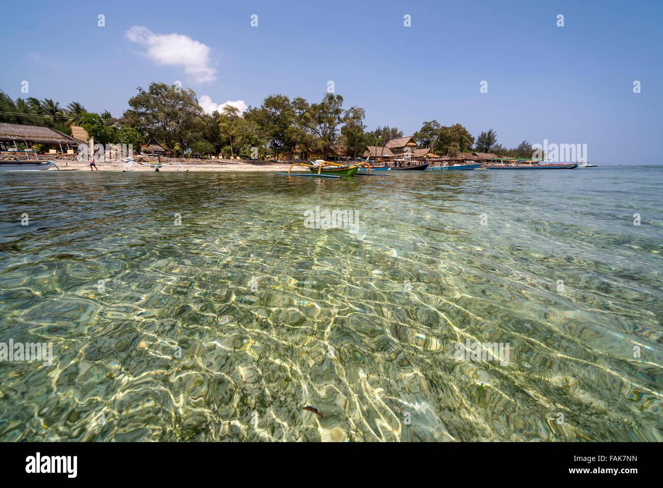 Plage sur la petite île de Gili Air, Lombok, Indonésie, Asie Photo Stock