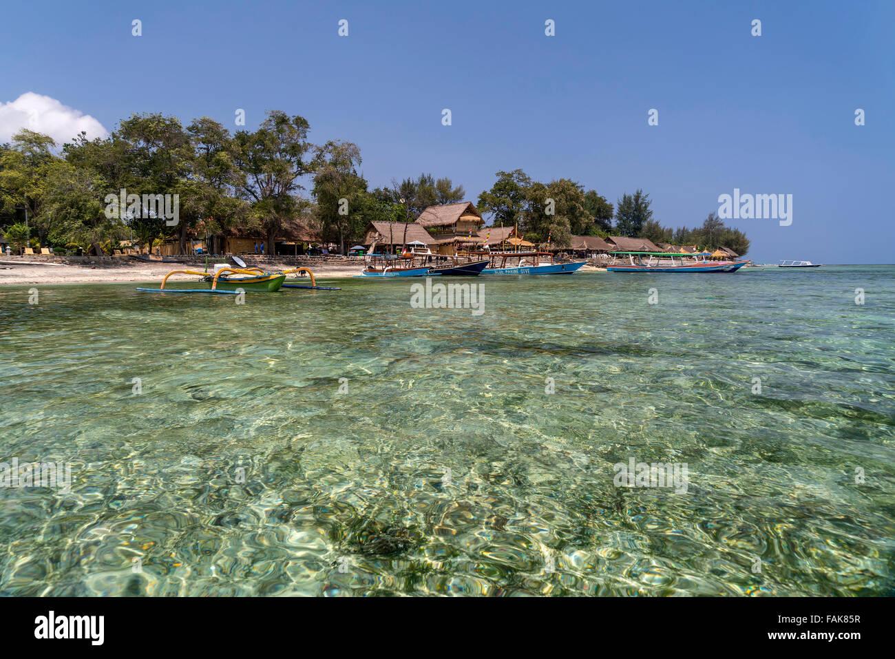 Plage sur la petite île de Gili Air, Lombok, Indonésie, Asi Photo Stock