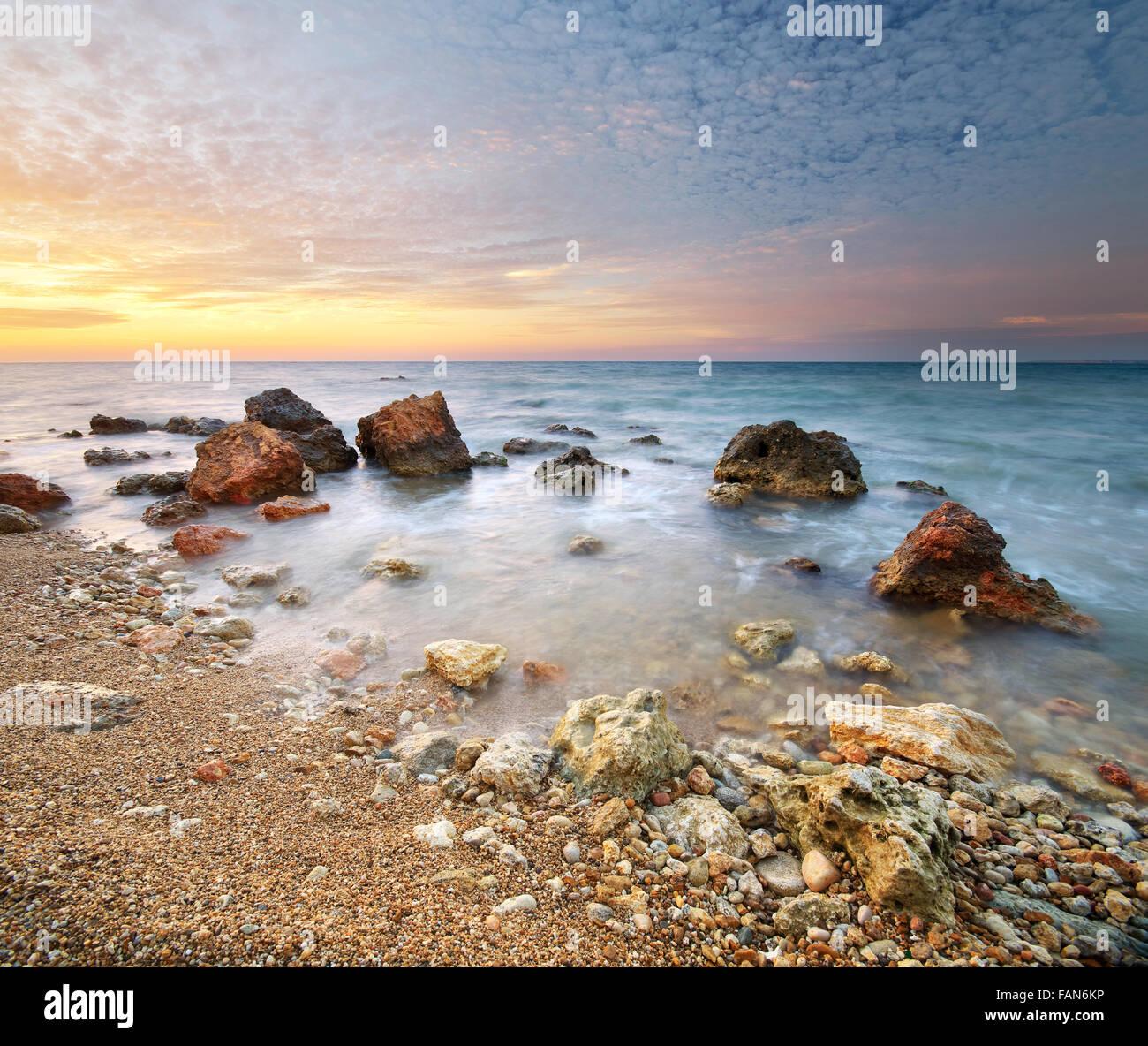 Beau paysage marin. Composition de la nature. Photo Stock