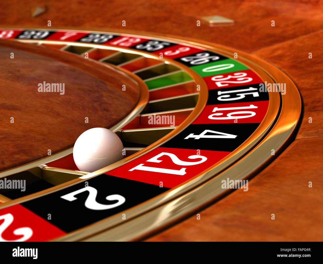 3D render of closeup détail de la roulette de casino Photo Stock