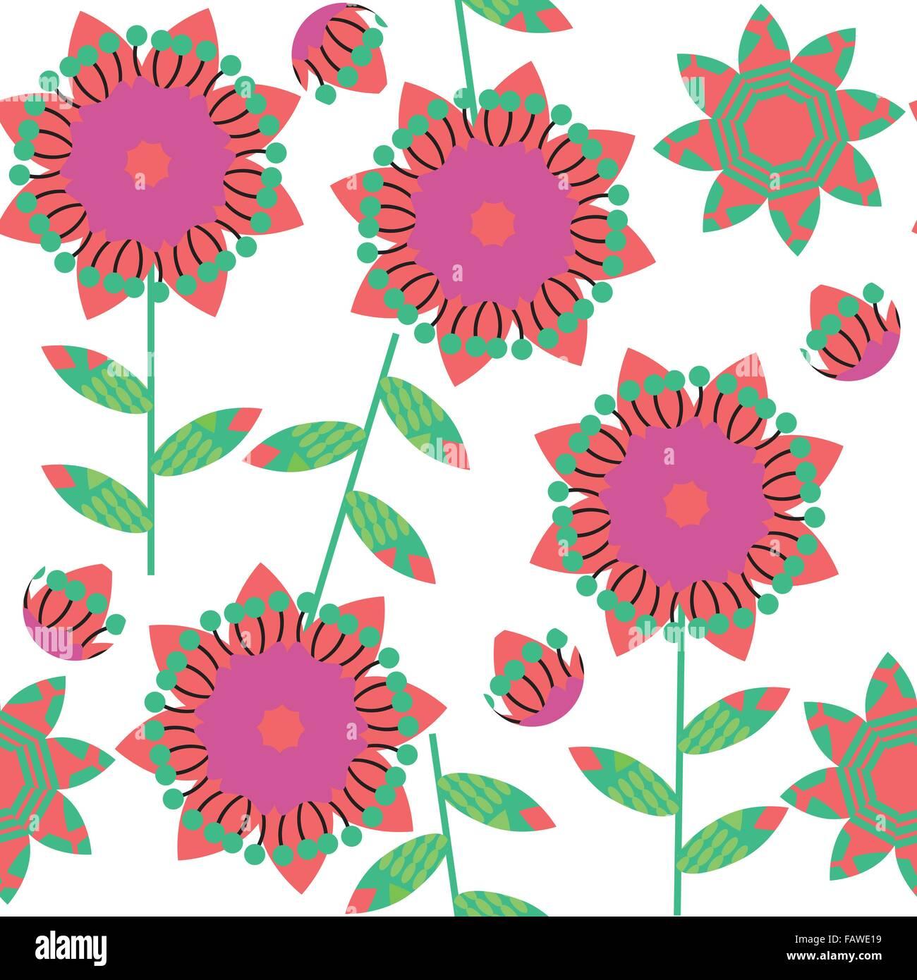 Motif floral coloré en vert transparent et couleurs rouge et sans motif dans le menu image vectorielle, swatch Illustration de Vecteur