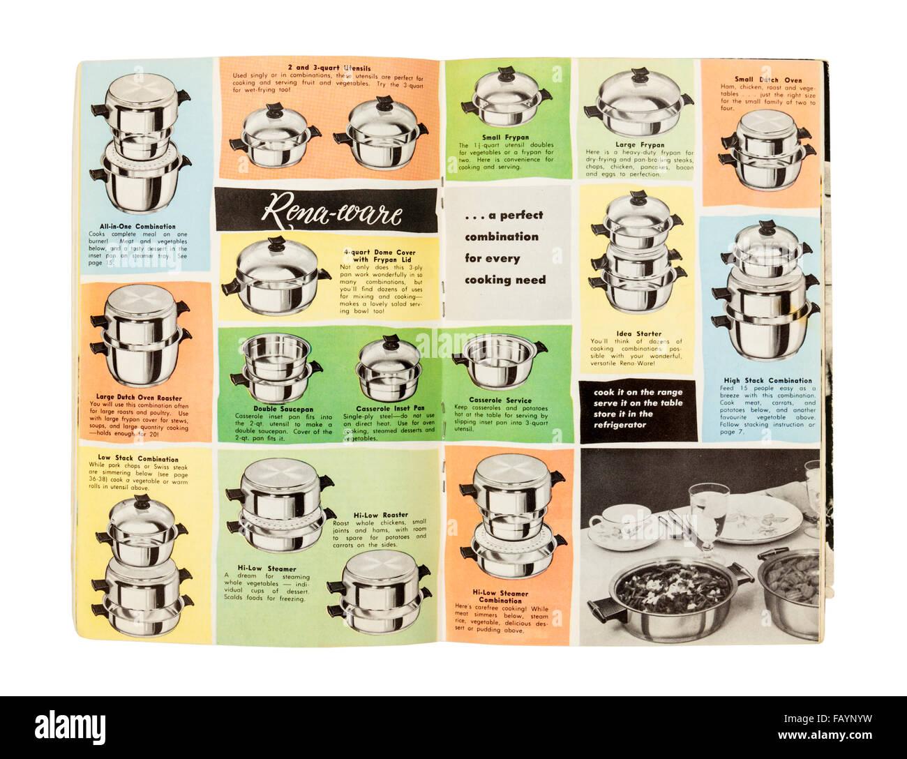 Vintage 1970 Rena-ware 'instruction sans eau' cuisine inoxydable / brochure de vente. Photo Stock