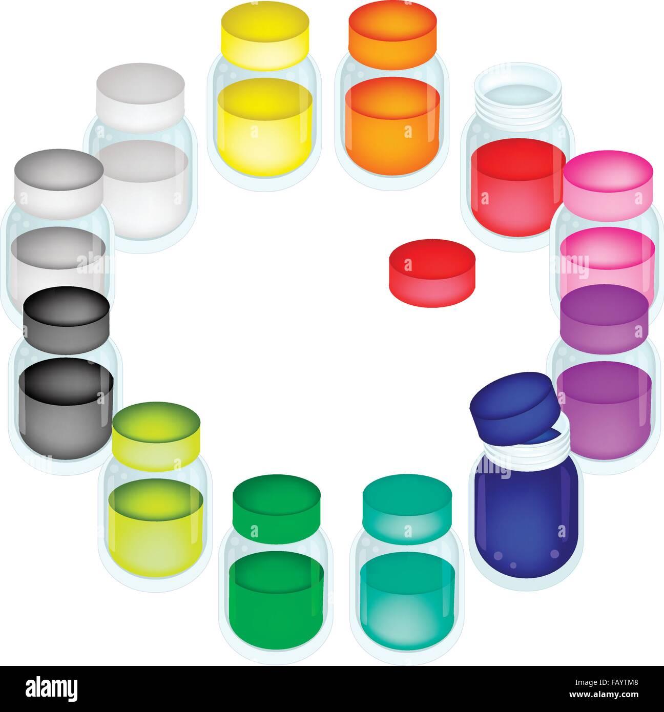 une collection de douze pots de peinture de couleur pour. Black Bedroom Furniture Sets. Home Design Ideas