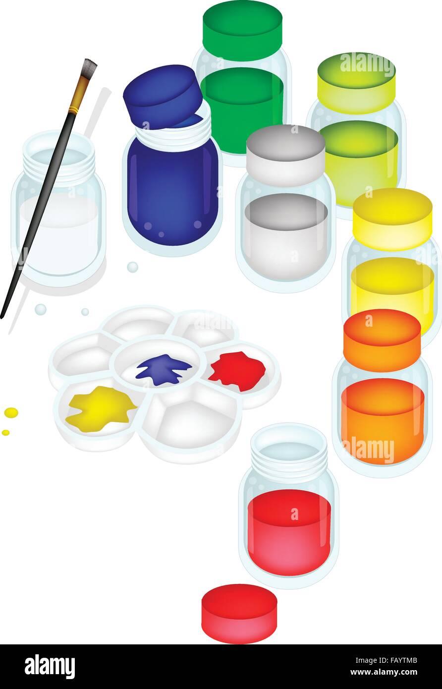 Pots De Peinture De Couleur Et Lart Plastique Palette Avec Un