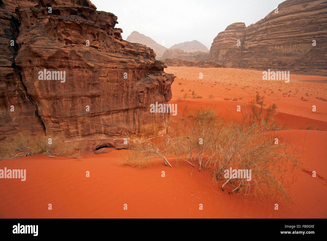 Formation rocheuse de grès érodées dans le désert de Wadi Rum / La Vallée de la lune, dans Photo Stock