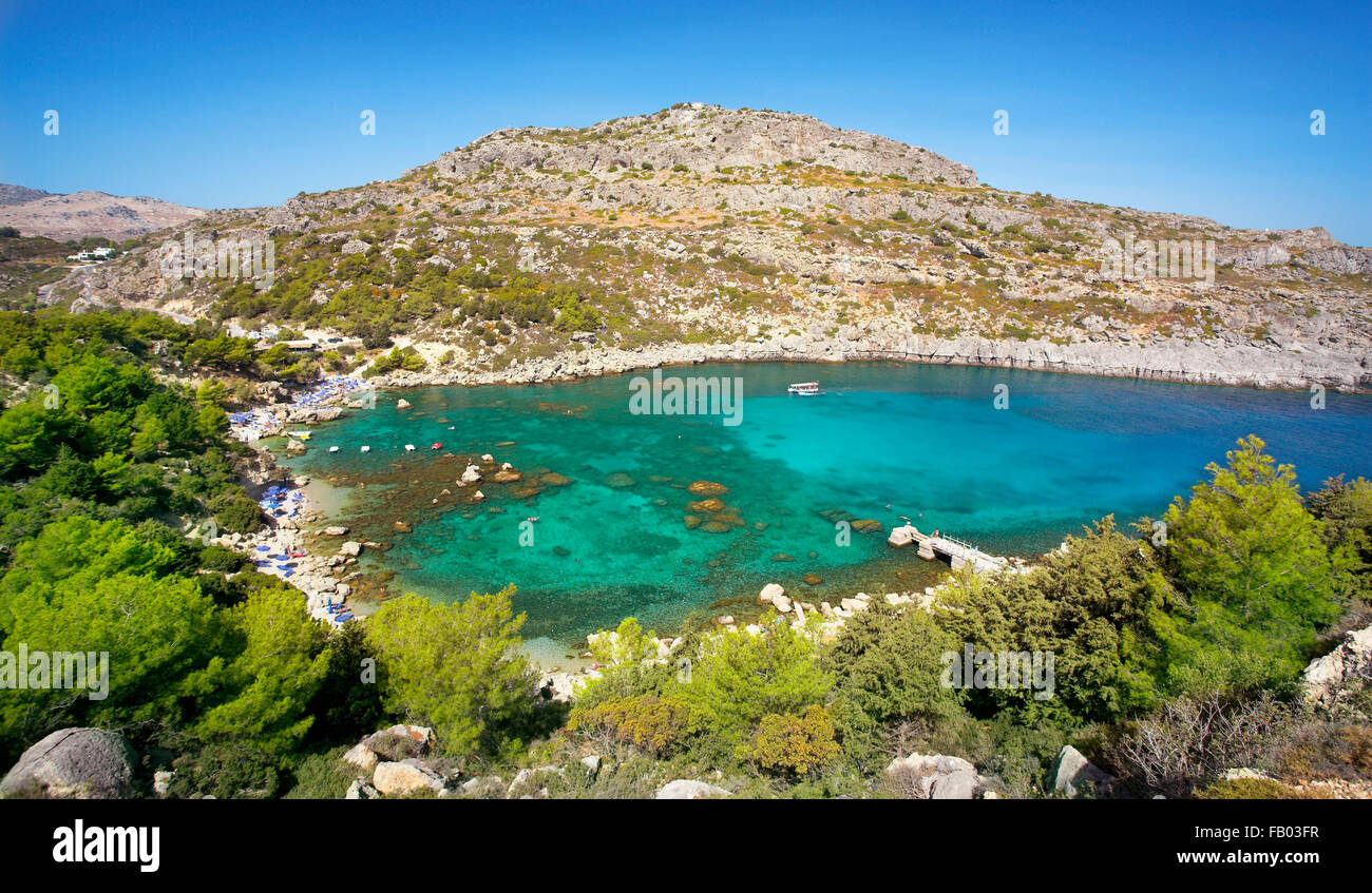 Anthony Quinn Bay, l'île de Rhodes, Grèce Photo Stock