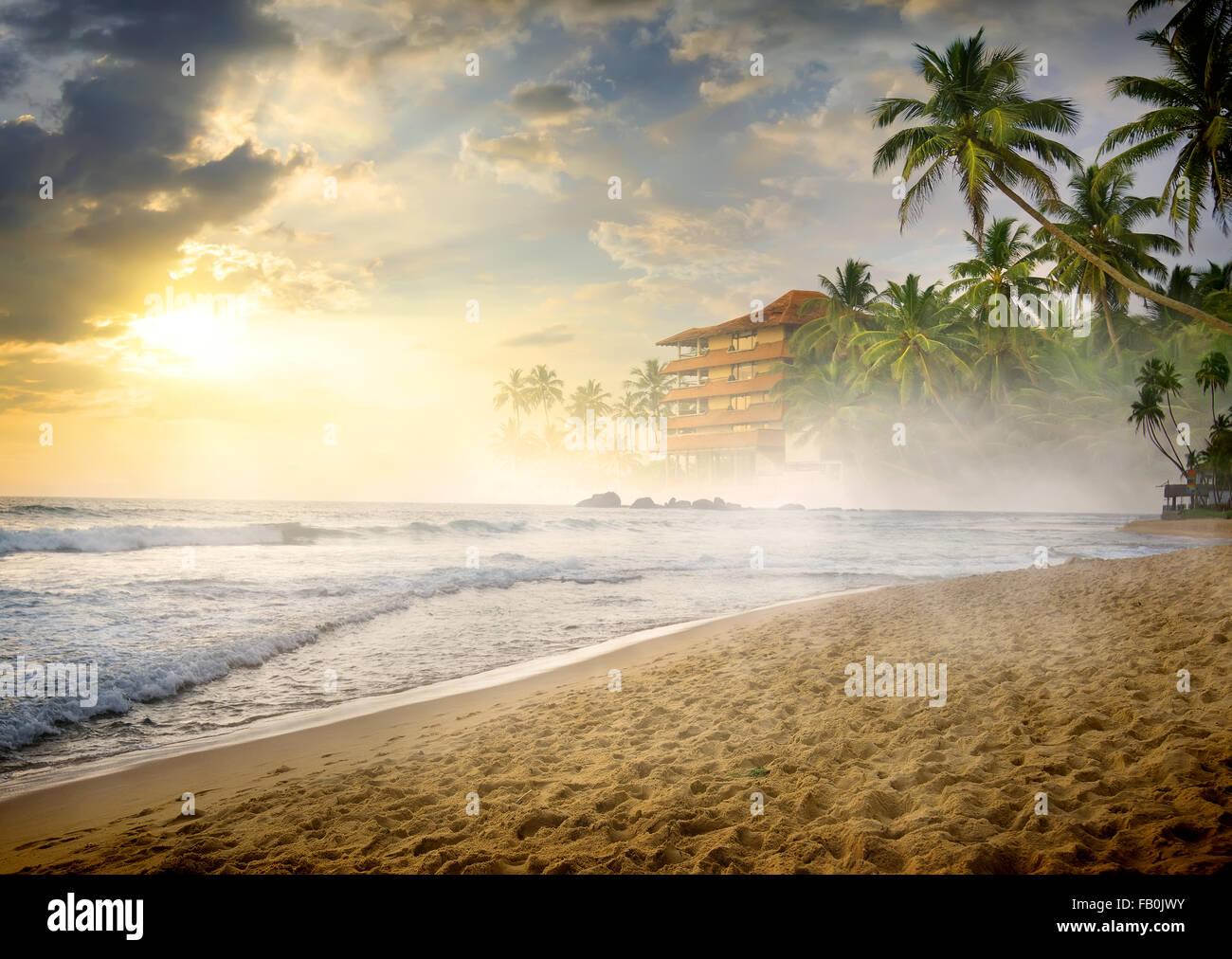 Matin brouillard sur plage de sable de l'océan Photo Stock