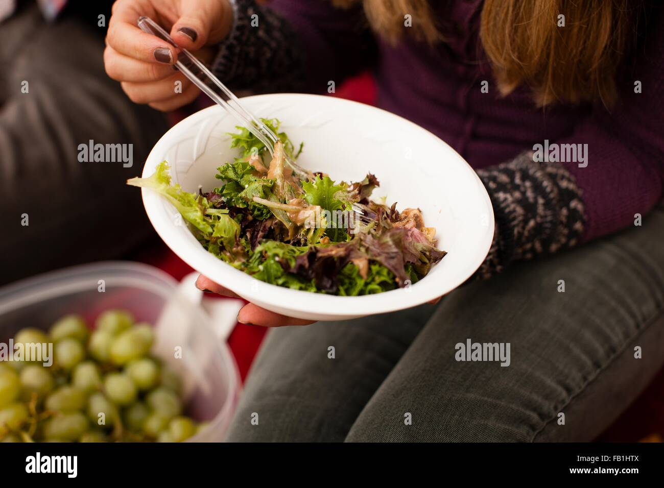 Cropped shot of young woman eating salad pique-nique Photo Stock