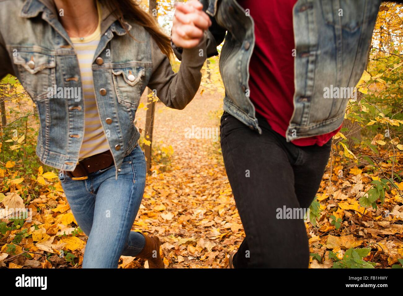 Cropped shot of young couple running through forêt d'automne Photo Stock