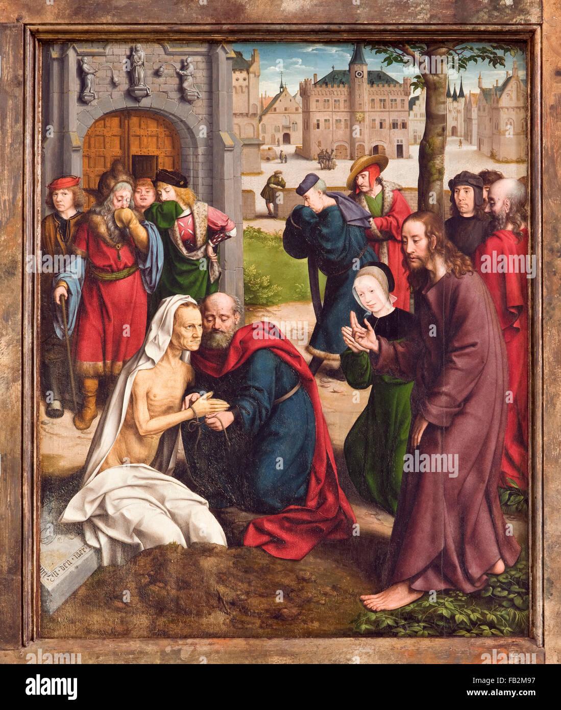 Kalkar, St. Nicolaikirche, Hochaltar (1488-1506), von Flügel Jan Joest (1505-1509), Lazare Kalkarer Auferweckung des mit Rathaus im Hintergrund Banque D'Images