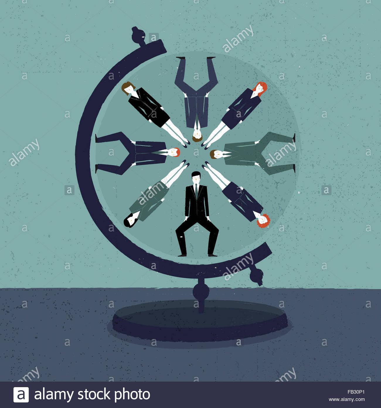 Hommes et de femmes d'affaires à motif de cercles sur globe Photo Stock