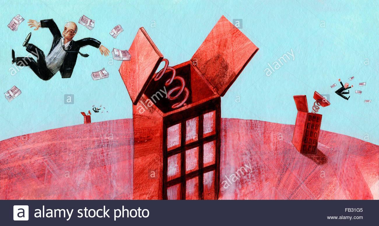 Les hommes d'être éjecté de la partie supérieure des bâtiments avec des tas d'argent Photo Stock
