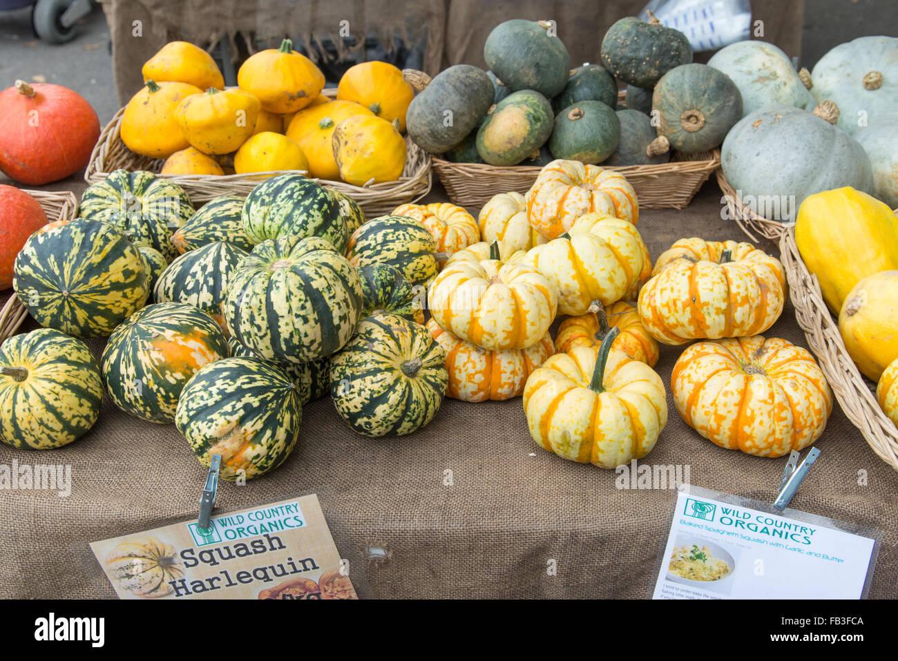 Squash à la vente à un marché de producteurs biologiques vegetable stall, London, England, UK Photo Stock