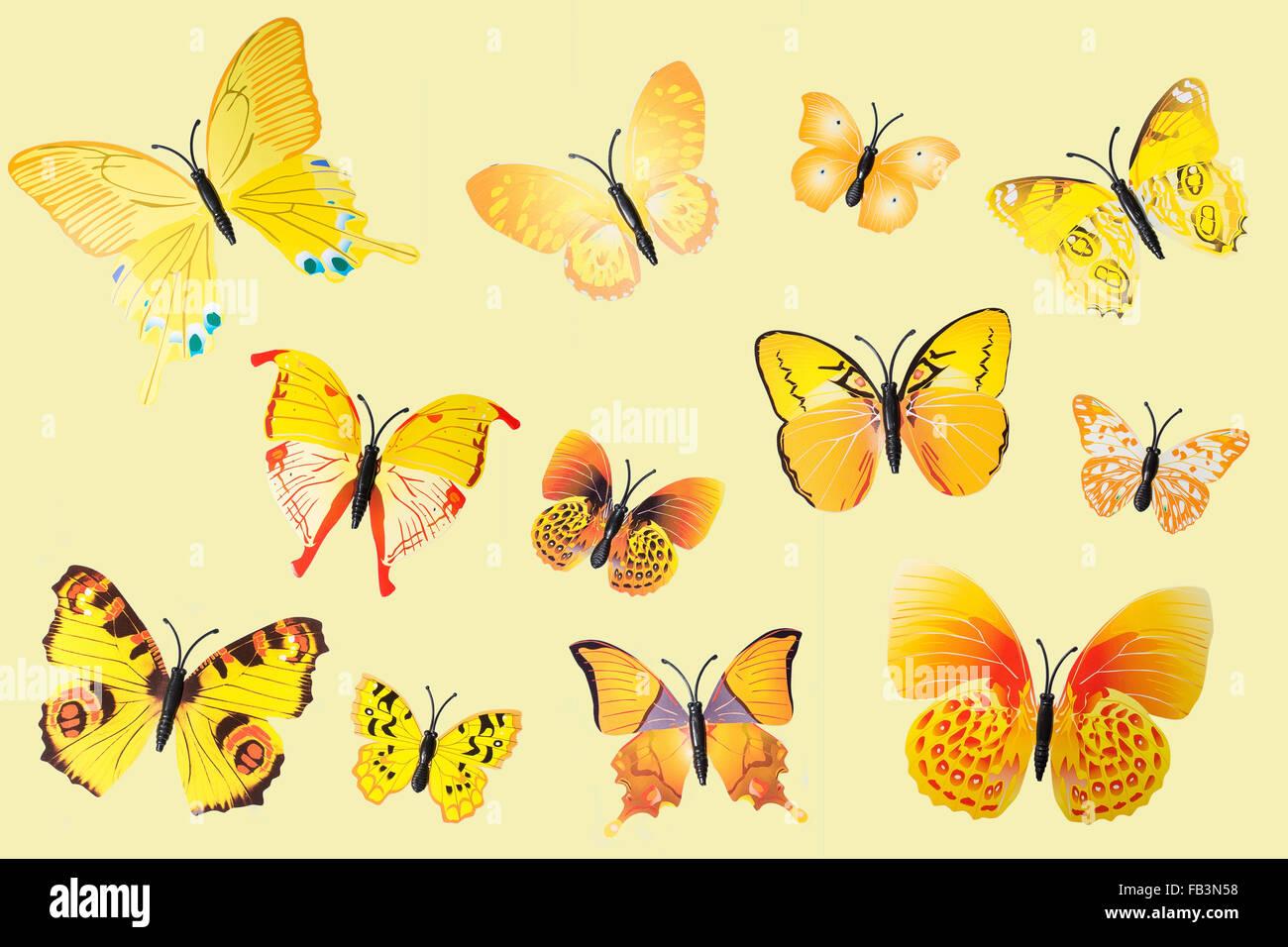 Collection de papillons fantaisie jaune Clip Art Photo Stock
