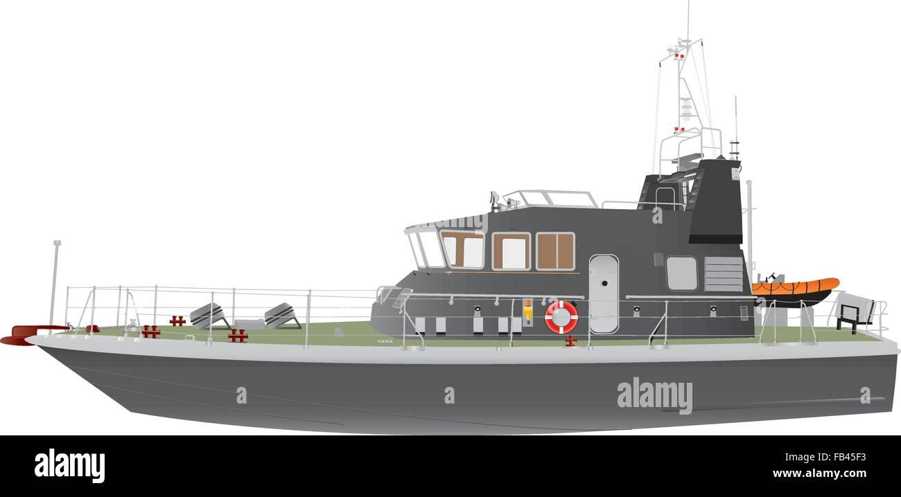 Une illustration détaillée d'un bateau de patrouille navale gris rapide avec un pneumatique d'orange Photo Stock