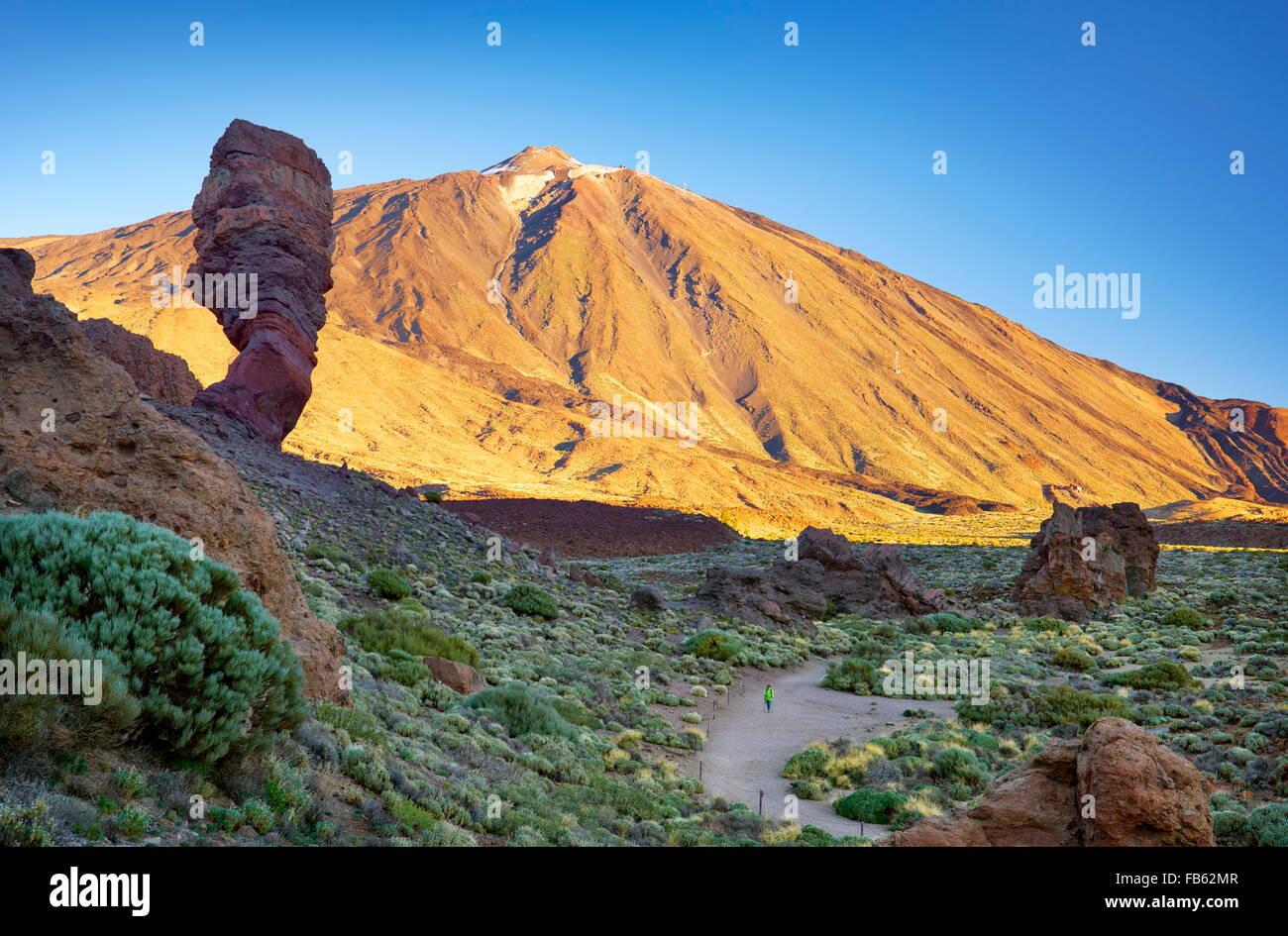 Le Mont Teide et Los Roques de Garcia, le Parc National du Teide, Canaries, Tenerife, Espagne Photo Stock