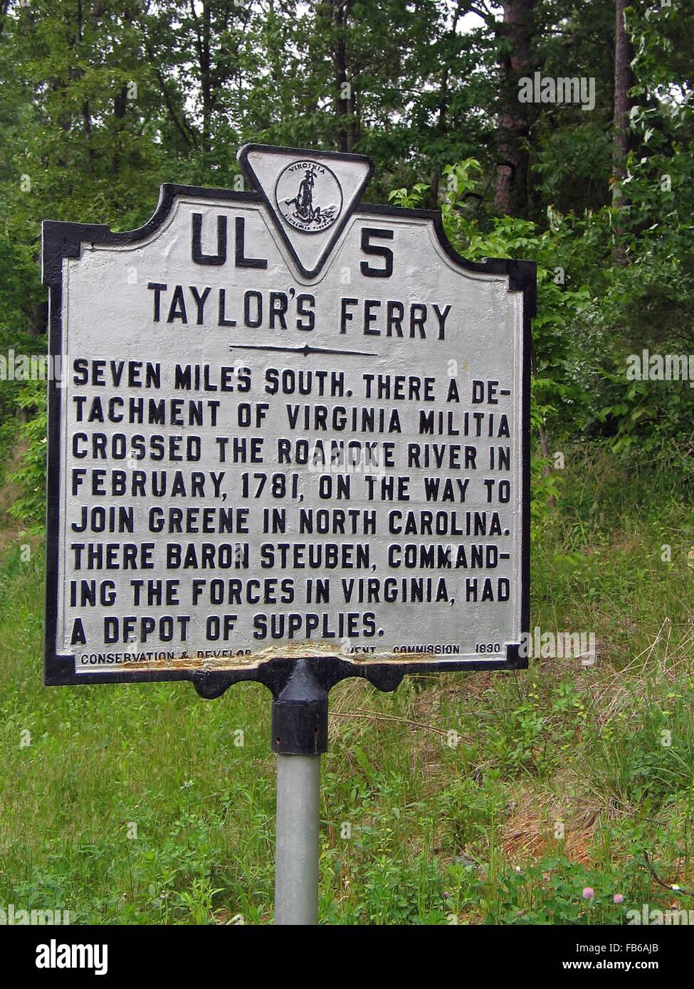 TAYLOR'S FERRY sept milles au sud, il y a un détachement de la milice de Virginie franchi la rivière Roanoke, en Banque D'Images