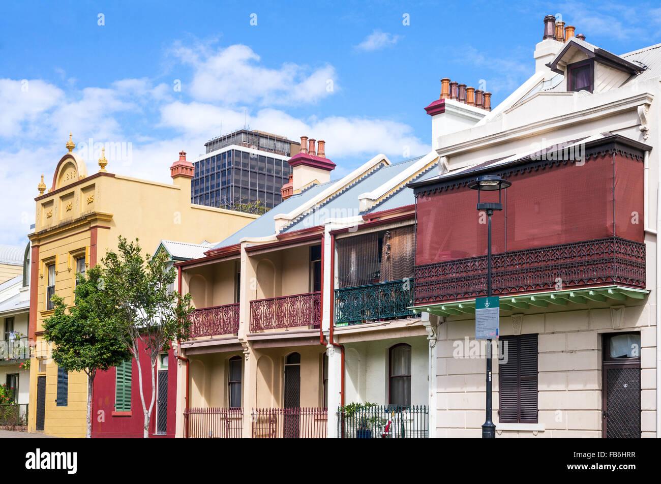 L'Australie, Sydney, les maisons traditionnelles de la rue Forbes Photo Stock