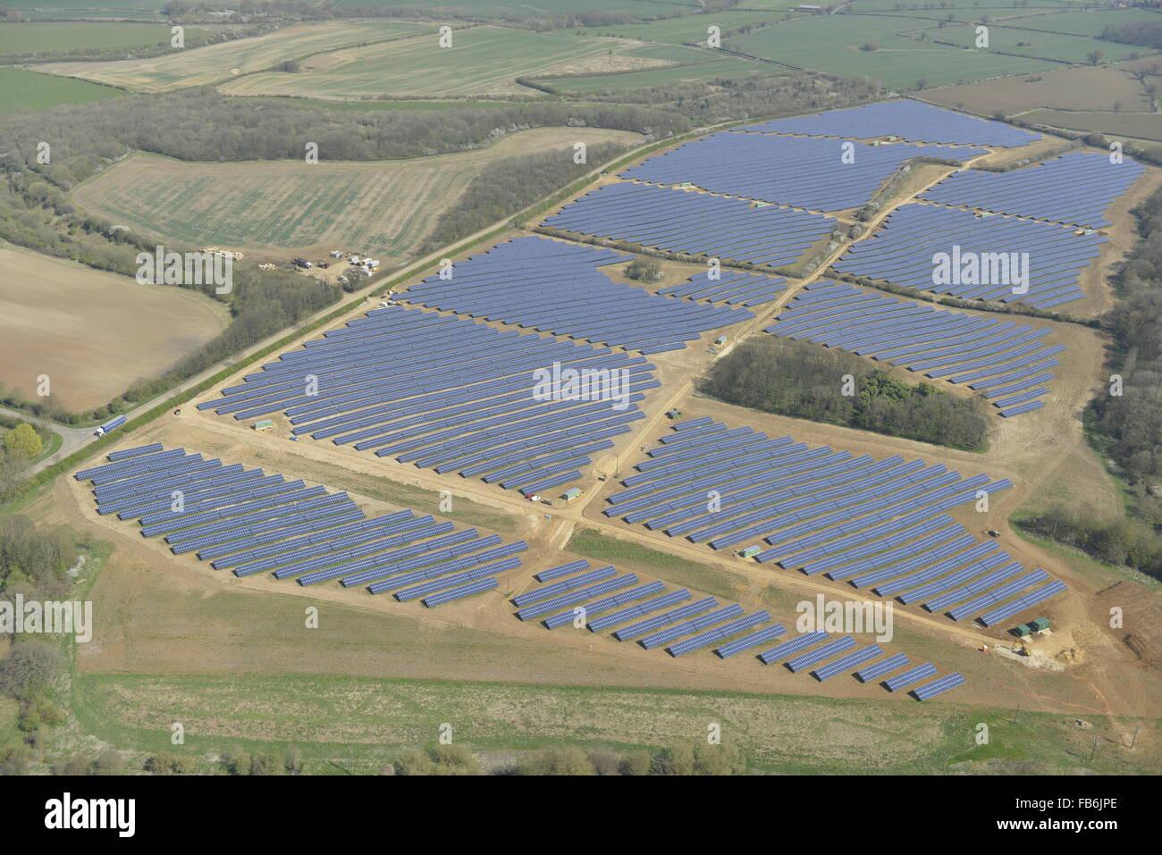 Une vue aérienne d'une ferme solaire dans le Leicestershire Photo Stock