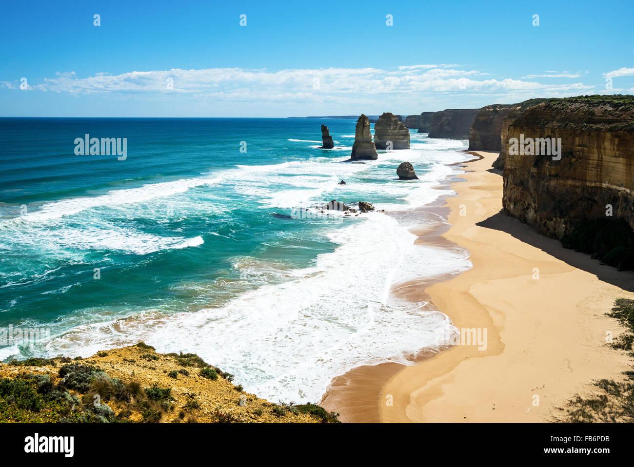 L'Australie, Port Campbell, les Douze Apôtres sea park Photo Stock